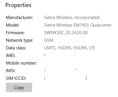 Sierra Wireless EM7455 issues on Win 10 Fall 2017 and